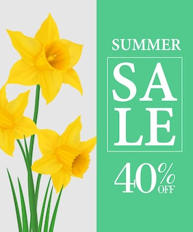 Letnia wyprzedaż czterdzieści procent off plakat szablon z żółte żonkile