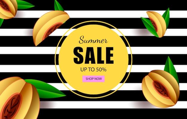 Letnia wyprzedaż do 50% poziomego szablonu banerowego ze sklepem z guzikami i owocami tropikalnymi.