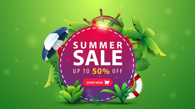 Letnia wyprzedaż, do 50% zniżki, rabatowy baner internetowy dla twojej witryny z różowym kółkiem z ofertą, elementami letnimi i akcesoriami plażowymi.
