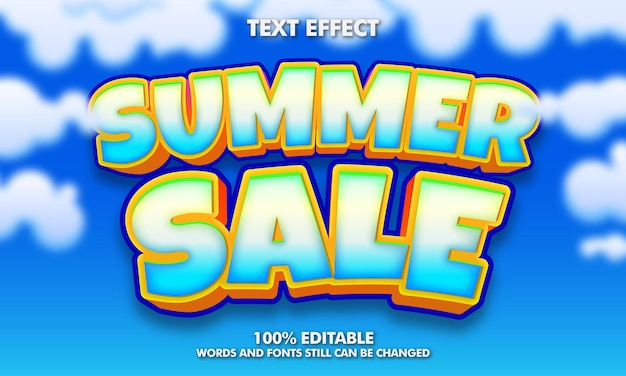 Letnia wyprzedaż edytowalny efekt tekstowy letnia wyprzedaż banner