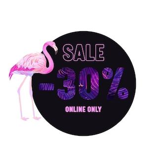 Letnia wyprzedaż fioletowy transparent z różowym flamingiem i tropikalnymi liśćmi typografii z ornamentem drzew palmowych i elementami botanicznymi. wzór, tylko online plakat reklamowy promocyjny. okrągła odznaka wektor, ikona znacznika