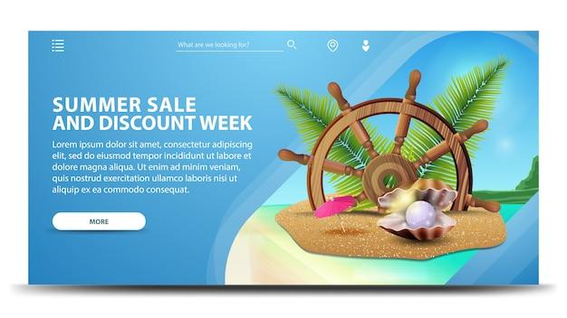 Letnia wyprzedaż i rabat, kreatywny poziomy baner internetowy z piękną scenerią