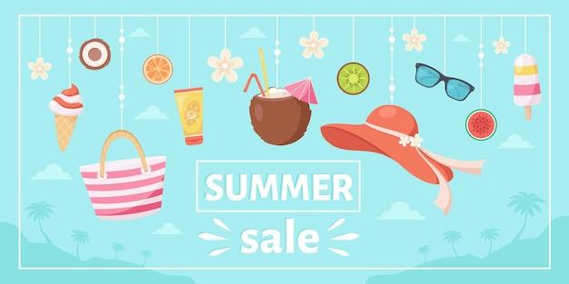 Letnia wyprzedaż kapelusz plażowy pina colada okulary przeciwsłoneczne krem do opalania lody z tropikalnymi kwiatami i owoce