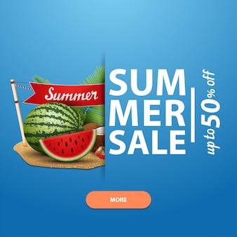 Letnia wyprzedaż, kwadratowy szablon banera na twoją stronę, reklamy i promocje