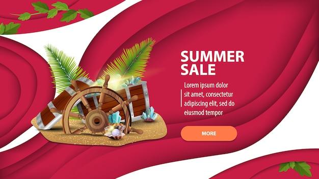 Letnia wyprzedaż, nowoczesny baner internetowy w stylu cięcia papieru na swojej stronie