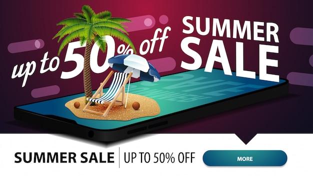 Letnia wyprzedaż, nowoczesny baner internetowy ze zniżkami na twoją stronę ze smartfonem