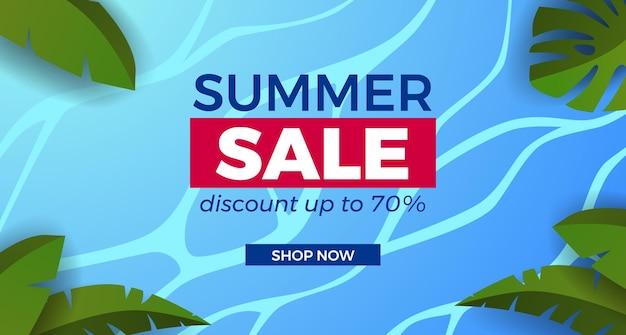 Letnia wyprzedaż oferta promocja banerowa z oceaniczną wodą morską z tropikalnymi liśćmi