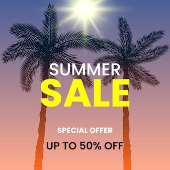 Letnia wyprzedaż, oferta specjalna, do 50% zniżki. palmy i słońce.