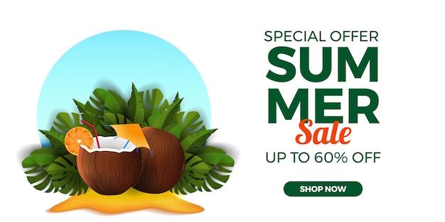 Letnia wyprzedaż oferuje promocję banerową z napojem kokosowym na piaszczystej plaży z tropikalnymi liśćmi