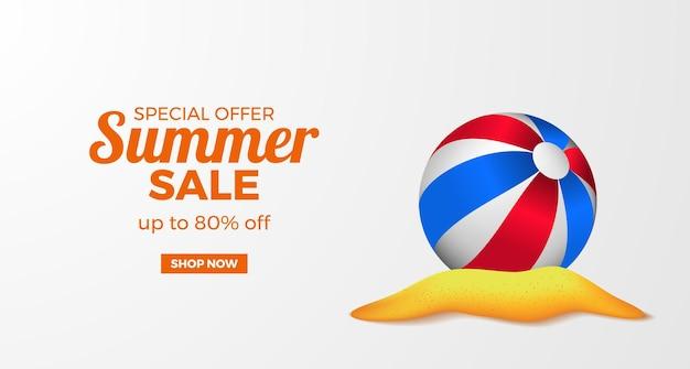 Letnia wyprzedaż oferuje promocję banerową z realistyczną kulą 3d na wyspie z piaszczystą plażą