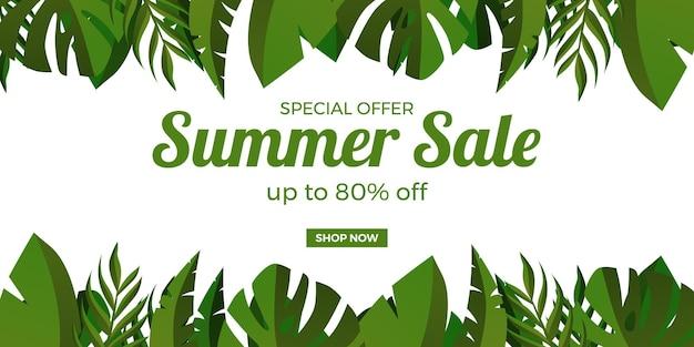 Letnia wyprzedaż oferuje promocję banerową z tropikalnymi liśćmi banana i monstera na białym tle