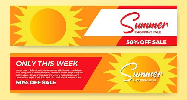 Letnia wyprzedaż oferuje promocję banerową ze słońcem