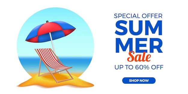 Letnia wyprzedaż oferuje promocję banerową ze złożonym krzesłem i parasolem na ilustracji piaszczystej plaży