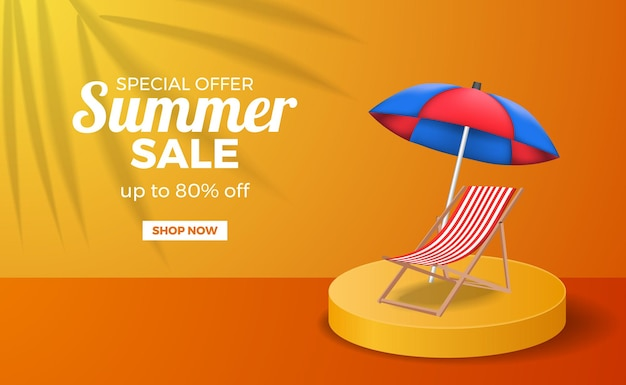 Letnia wyprzedaż plakat szablon transparent z pomarańczowym ciepłym kolorem podium z leniwym krzesłem i parasolem