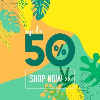 Letnia wyprzedaż plakat z tropikalnych liści i kwiatów, baner reklamowy i tropikalny tło w nowoczesnym stylu płaski, oferta specjalna wiosna flash, reklama wakacje plakat, ulotka. ilustracja wektorowa