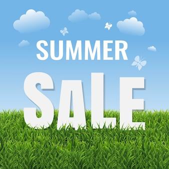 Letnia wyprzedaż plakat z zieloną trawą