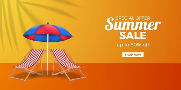 Letnia wyprzedaż promocja bannerów ze składanym krzesłem i parasolem