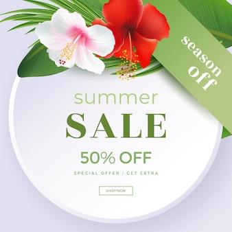 Letnia wyprzedaż ramka z szkarłatnym kwiatem tropikalnym hibiskusa