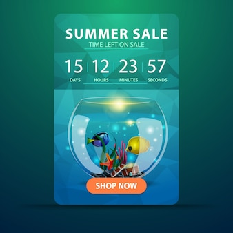 Letnia wyprzedaż, szablon banera internetowego z odliczaniem do końca sprzedaży