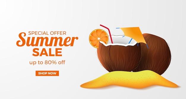 Letnia wyprzedaż szablon transparentu z 3d realistycznym napojem kokosowym na wyspie z piaszczystą plażą