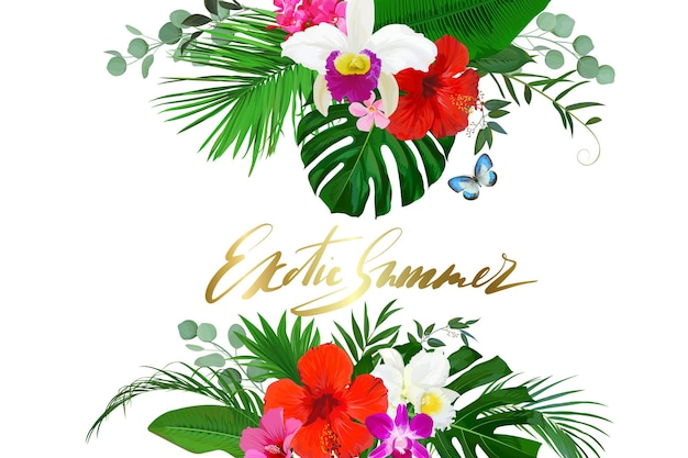 Letnia wyprzedaż tło z orchideą, kwiatami hibiskusa i palmą, liście monstera do projektów internetowych