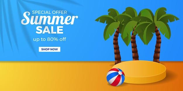 Letnia wyprzedaż transparent promocyjny baner rabatowy z wyświetlaczem cylindra na podium z drzewem kokosowym z piłką i niebieskim i pomarańczowym