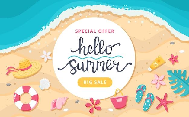 Letnia wyprzedaż transparent. ręcznie rysowane napis, plaża i słodkie elementy. ilustracja wektorowa szablonu
