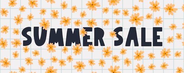 Letnia wyprzedaż transparent z kwiatami list wektor
