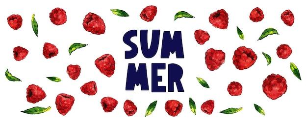 Letnia wyprzedaż transparent z owocami malinowymi jagodami wektor list