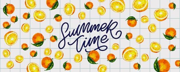 Letnia wyprzedaż transparent z owocami pomarańczowy list wektor