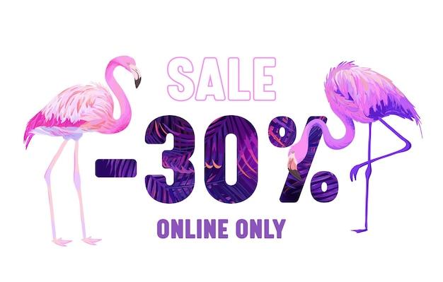 Letnia wyprzedaż transparent z różowym flamingiem i fioletową typografią z ornamentem palmy i elementami botanicznymi. tropikalny wzór liści, plakat reklamowy promocyjny tylko online. ilustracja wektorowa