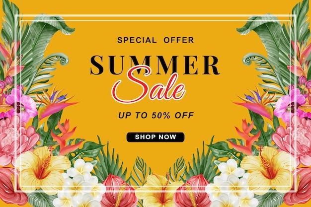 Letnia wyprzedaż transparent z tropikalną zielenią liści i kwiatów akwarelą