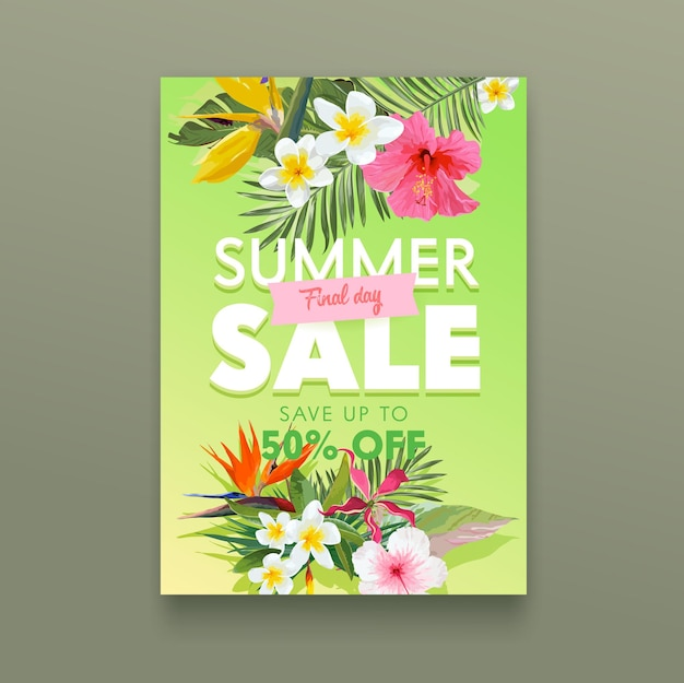 Letnia wyprzedaż transparent z tropikalnymi kwiatami plumeria, hibiskus i strelicja z liśćmi palmowymi, kwiatowy botaniczny tło, plakat reklamowy promocyjny, ulotka rabatowa w sklepie. ilustracja kreskówka wektor