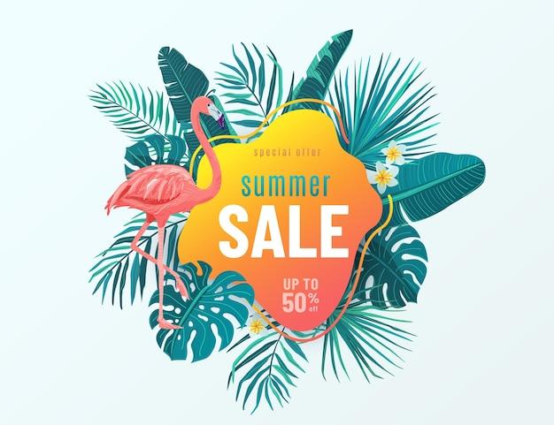 Letnia wyprzedaż transparent z tropikalnymi liśćmi, flamingami, kwiatami. oferta specjalna. projekt zwrotnika