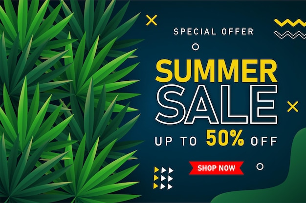 Letnia wyprzedaż transparent z tropikalnymi liśćmi