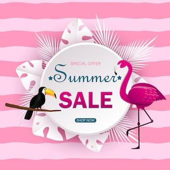 Letnia wyprzedaż transparent z wyciętym z papieru flamingiem i tłem tropikalnych liści, egzotycznym motywem kwiatowym na baner, ulotkę, zaproszenie, plakat, stronę internetową lub kartkę z życzeniami. ilustracja styl cięcia papieru