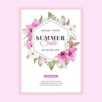 Letnia wyprzedaż transparentu ulotki z różową akwarelą orchid