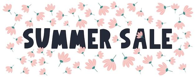 Letnia wyprzedaż transparentu z kwiatami