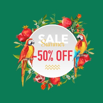 Letnia wyprzedaż tropikalne kwiaty i egzotyczne papugi ptaki banner, plakat rabatowy, wyprzedaż mody, oferta rynkowa