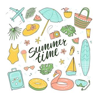 Letnia zabawa w zestawie z napisem. witaj lato.