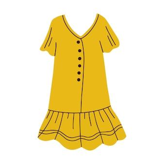 Letnia żółta sukienka ilustracji wektorowych
