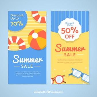 Letnie banery sprzedaż z elementami plaży