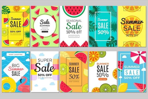 Letnie banery. tropikalne kolorowe zdjęcia z wakacji, ulotki z arbuzem i flamingami, kółkiem do pływania i parasolem do letnich szablonów sprzedaży