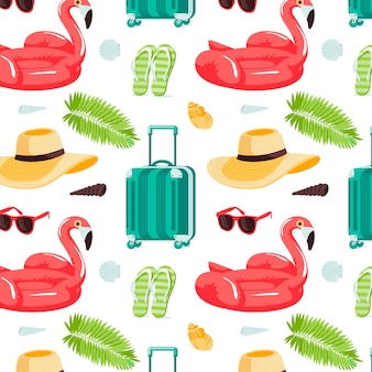 Letnie bezszwowe słodkie kolorowe obiekty z flamingami tropikalnymi liśćmi walizka muszle plaża ha