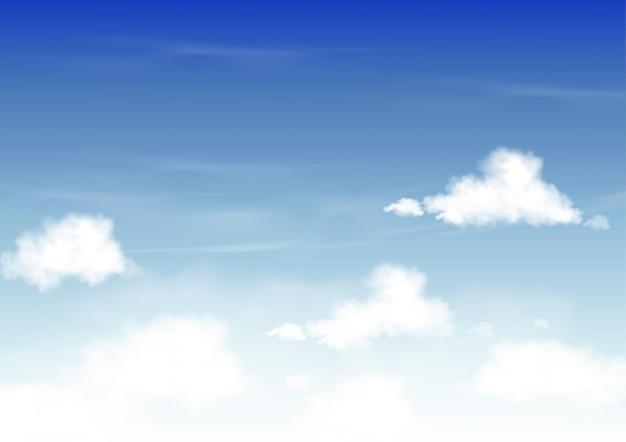 Letnie błękitne niebo z białymi chmurami, skyscape horizon spring rano
