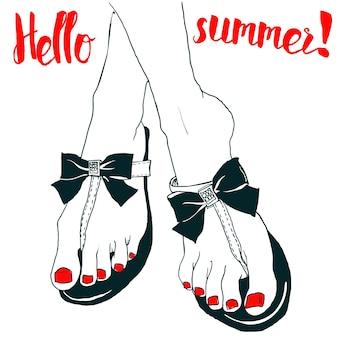 Letnie buty słodkie kolorowe kobiety. ilustracja wektorowa