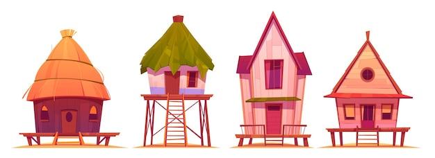 Letnie domy na palach, bungalowy na plaży morskiej na białym tle.