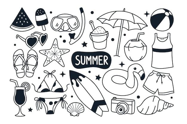 Letnie doodle ilustracja na białym tle
