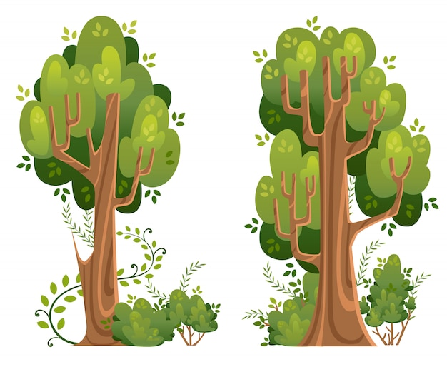 Letnie drzewa i krzewy w dobrym stylu. zielone przestrzenie. ilustracja na białym tle. strona internetowa i aplikacja mobilna