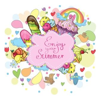 Letnie elementy doodle - słońce, lody, ptaki
